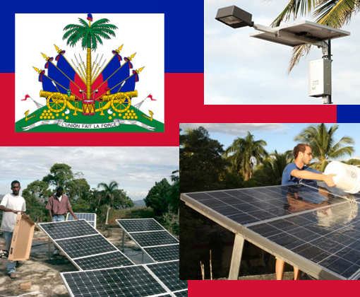 Top right: Solar-powered streetlights. Bottom right: A volunteer washes the dust from last week's earthquake in Haiti off a solar array at Louverture Cleary School, north of Port-au-Prince, to maximize power production.