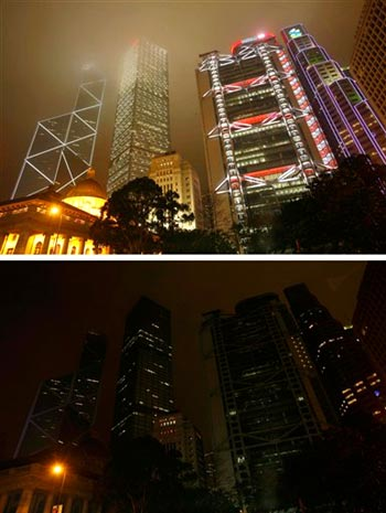 Commercial buildings before (top) and after (bottom) turning off lights at Hong Kong's central district Saturday March 28, 2009 to mark the second worldwide Earth Hour. Over 1,700 buildings in Hong Kong join 2,800 municipalities in 84 countries in the event to highlight global climate change