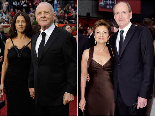 left, Anthony Hopkins and his wife Stella Arroyave; Richard Jenkins and his wife Sharon R. Frederick