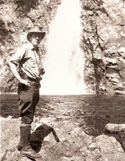Howard Zahniser at Hanging Spear Falls on the Opalescent River, August 1946 (photo by Paul Schaefer)... Quote: it was here in New York State, down in Albany in 1953, that Zahnie, as some of you knew my father, urged the Joint Legislative Committee on Natural Resources that 'We must not only protect the wilderness from commercial exploitation. We must also see that we do not ourselves destroy its wilderness character in our own management programs. We must remember always that the essential quality of the wilderness is its wildness.' ... My father called the Forest Preserve 'a brilliant and noble concept.'