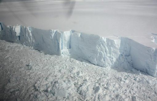 A 20 metre-high ice cliff forming the edge of the Wilkins Ice shelf on the Antarctic Peninsula is seen from a plane January 18, 2009. The huge Antarctic ice shelf is on the brink of collapse with just a sliver of ice holding it in place, the latest victim of global warming that is altering maps of the frozen continent