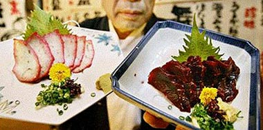 Japan whale cuisine: on the menu, alongside local staples such as whale sashimi, were new creations including whale spring rolls, whale bacon and even an Italian cheese whale cutlet