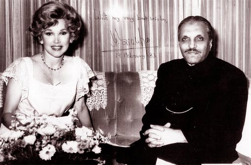 'You were famous; your heart was a legend'; Joanne was born rich and beautiful - a tough life, clearly - but instead of taking the Paris Hilton road to fame, she applied her intelligence and charm to every situation with which she was presented. Photo: Joanne with Pakistani president Muhammad Zia-ul-Haq in 1983
