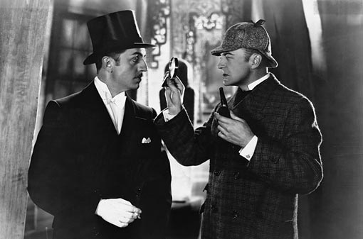 John Barrymore as Sherlock Holmes and Roland Young as Dr. Watson in 1922 version