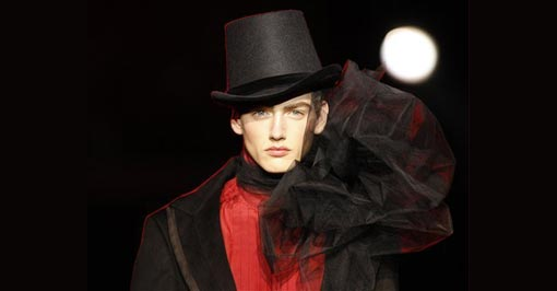 a model wears a creation by British fashion designer John Galliano as part of his men's Fall-Winter 2009/2010 collection, in Paris, Friday, Jan. 23, 2009