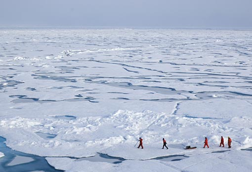 In the summer of 2005, a WHOI research team, led by John Kemp and Rick Krishfield, surveyed floes in the Beaufort Sea in search of ice thick enough for deployment of an ice-tethered profiler. WHOI scientists have been deploying instruments and making observations near both Poles for decades, but special efforts are being made this year as part of the International Polar Year. Today is the third International Polar Day and the mid-way point in the global effort.