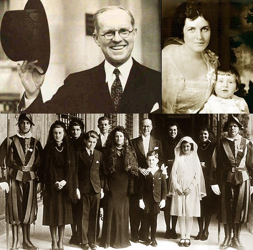 top left: Joseph P. Kennedy Sr.; top right: Rose Kennedy holding Joe Jr., presumably prior to 1921; bottom: Kennedy family visits Pope Pius XII in Vatican City, 1939. Young Ted Kennedy stands in front of his father Joseph