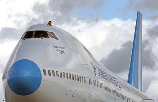 the world's first built guesthouse onboard a real Boeing 747-200 has touched down at Stockholm Arlanda Airport