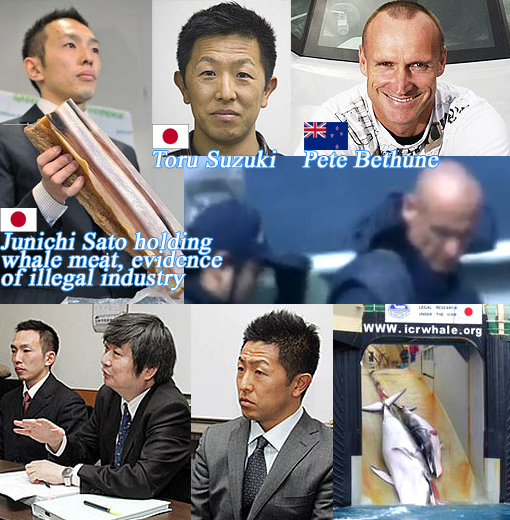 Japan's Junichi and Toru ('Tokyo Two'); New Zealand's Peter Bethune... defending the ocean from illegal whaling in the Southern Ocean Whale Sanctuary.