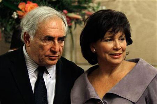 Dominique Strauss-Kahn, International Monetary Fund Managing Director, and his wife Anne Sinclair together at the Senate in Paris