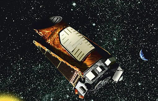 this artist rendition provided by NASA shows the Kepler space telescope. Kepler is designed to search for Earth-like planets in the Milky Way galaxy