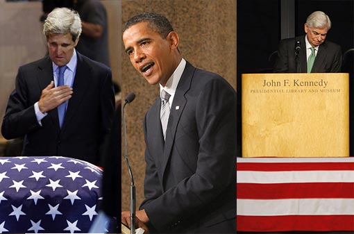 Left: Massachusetts Senator John Kerry, pays respects to Senator Kennedy. Middle: President Barack Obama speaks during Kennedy's funeral: a great legislator, 'a kind and tender hero'. 'The greatest expectations were placed upon Ted Kennedy's shoulders because of who he was,' observed President Barack Obama in his eulogy, 'but he surpassed them all because of who he became.' Right: Sen. Christopher Dodd pauses as he speaks at the wake in front of the casket of his close friend Sen. Kennedy.