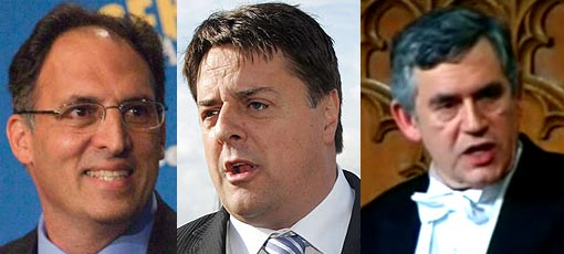 Left: Alan Khazei; Center: BNP leader Nick Griffin MEP; Right: Gordon Brown delivers the traditional prime minister's foreign policy speech at the lord mayor's banquet in the City of London