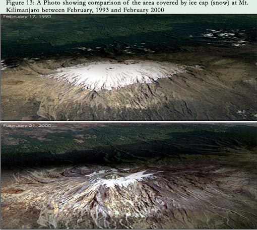 comparison of area covered by ice cap (snow) at Mt. Kilimanjaro between Feb. 1993 and Feb. 2000