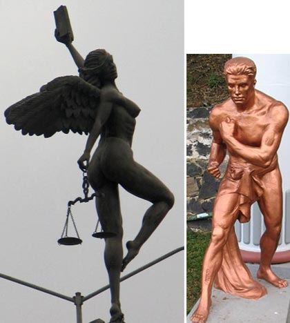 Left: The statute of 'Lady Justice' on top of the Justice building in Xalapa, Xalapa; Right: statue in Xalapa, Veracruz