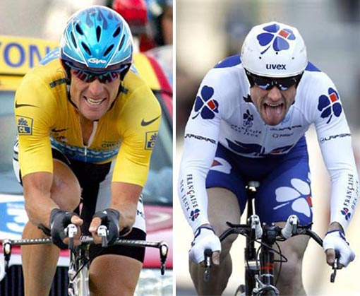 Tour de France riders Lance Armstrong and Sebastien Joly