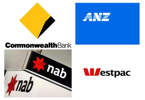 Australia's biggest four banks: Commonwealth Bank of Australia, New Zealand Banking Group Ltd, National Australia Bank, and Westpac Banking Corp