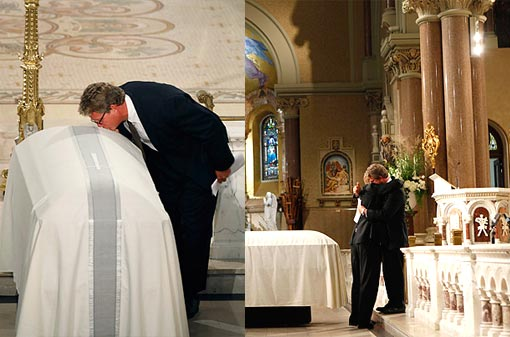 Left: Edward Kennedy Jr. pays a final tribute his father's coffin. Right: Sen. Ted Kennedy's sons Congressman Patrick Kennedy (L) and Edward Kennedy Jr. (R) hug at the altar during eulogies at the funeral services for Senator Kennedy at the Basilica of Our Lady of Perpetual Help in Boston.