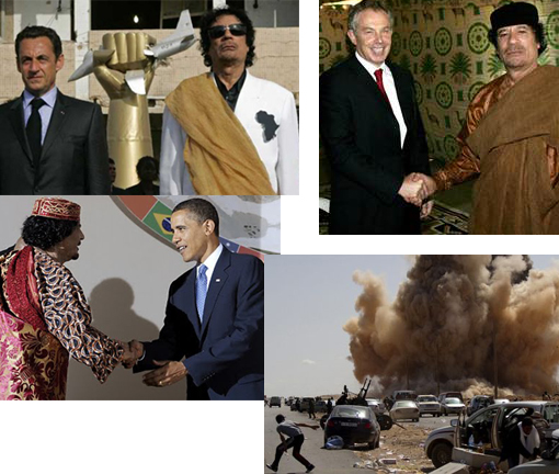 'Almost 10 years ago, as far as the democratic West [US, France, UK..] was concerned, Gaddafi was no..reprehensible individual..' Photos: Gaddafi with Obama, Sarkozy, Blair. Bottom right: fighter jet bombarded area southwest of Benghazi in breach of Libyan regime's announcement of ceasefire.