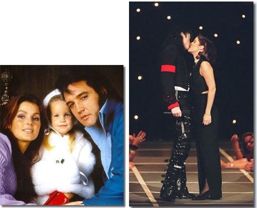 Left: Priscilla, Lisa Marie, and Elvis Presley; Right: Lisa Marie goes from being daughter of a 'King', to marrying the 'King of Pop'