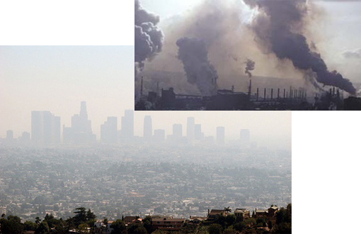 Los Angeles smog. The Los Angeles-Long Beach-Riverside region of Southern California remained the metropolitan area with the highest levels of ozone pollution, as it has in each of the past 10 reports. Inset: steel mill, Pittsburgh. Smoke stacks cause air pollution. Pittsburgh and Los Angles are the two most polluted cities in America.