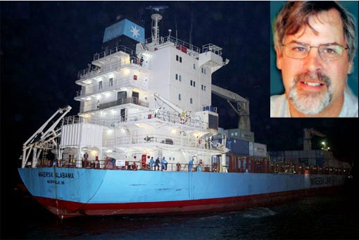 The Maersk Alabama arrives in Kenya Saturday with 19 crew members on board guarded by Navy Seals. The ship's captain, Richard Phillips, was still being held hostage on a lifeboat hundreds of miles from shore by Somali pirates who seized the ship Wednesday.