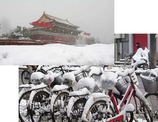 Top: A view shows the Tiananmen Rostrum in snow in Beijing early morning, November 1, 2009. Bottom: An artificially induced snow storm blanketed Beijing, shrouding China's capital in white. Earliest snow to hit Beijing in 22 years fell on November 1, the capital has again been shrouded in white, with more snow expected in the coming three days. The China Daily, citing an unnamed official, said the Beijing Weather Modification Office had artificially induced both storms by seeding clouds with chemicals, a practice that can increase precipitation by up to 20 per cent.