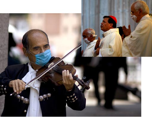 masked mariachi playing the violin in Mexico City; churches services being canceled, airports and bus stations being screened for people sickened by a new strain of swine flu