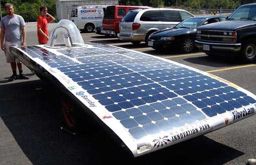 the Phoenix II, by Canada's McMaster Solar Car Project, is seen before the start of the race
