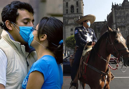 A couple attempts to kiss. Across Mexico more than 1,300 people were tested for suspected swine flu infection and 400 were taken to hospital for checks. Health officials believe that tens of thousands, and possibly more, have been infected but have since recovered.