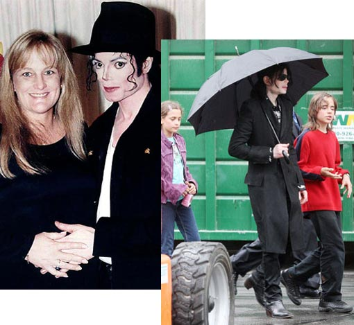 Left: Parenthood: Michael with Debbie Rowe - the mother of his first two children - shortly after their wedding in 1996; Right: Despite being constantly surrounded by a media circus, Michael Jackson managed -- for the most part -- to keep his children out of the spotlight. Here, though, we get a rare glimpse of daughter, Paris Michael, 11, and son, Prince Michael I, 12, together less than a month before Jackson's June 25, 2009 death