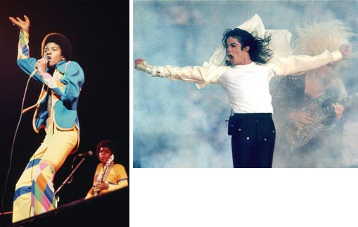 Left: Michael Jackson and The Jackson 5 in concert on August 26 1973 at the Forum in Inglewood, California; Right: Michael Jackson performs during the halftime show at the Super Bowl XXVII in Pasadena, Calif. Jackson has died in Los Angeles at age 50 on Thursday, June 25, 2009