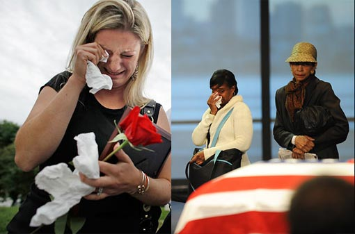 mourners whose hearts are touched by Sen. Ted Kennedy weep while waiting in line to see his casket at the JFK Library