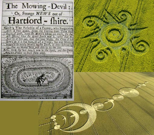 Left: an English woodcut pamphlet published in 1678 called the 'Mowing-Devil': The image depicts a demon with a scythe mowing an oval design in a field of oats. Right: A crop circle in a field of oilseed rape at Roundway Hill, Wiltshire. Bottom: Crop circles are pretty cool