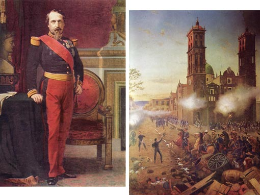 Left: Napoleon III, Emperor of the French (Chateau de Versailles); Right: Díaz at Puebla - This painting shows one of the critical moments of the Cinco de Mayo battle.  The French assault has begun to break up under the deadly fire of Mexican marksmen from Fort Loreto and the fortified monastery of Guadalupe.  Just then, General Porfirio Díaz appears, leading a detachment of Mexican cavalry in a charge against the dispirited French troops.