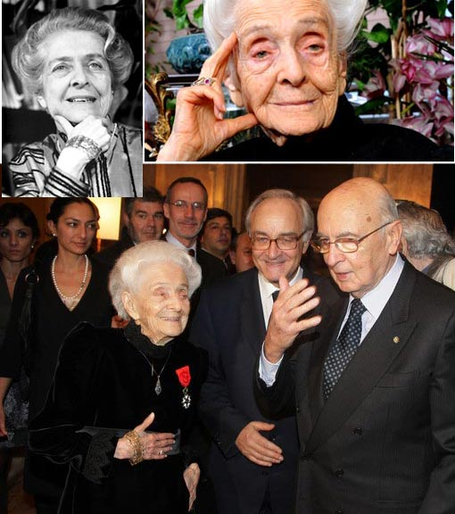 Medicine Nobel Prize Winner Rita Levi-Montalcini honoured with the Legion D'Honneur Medal receives compliments from the French Ambassador Jean-Marc De La Sabliere (C) and the Italian President Giorgio Napolitano (R) at the Villa Medici on December 5, 2008 in Rome, Italy.