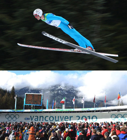 Top: US' Johnny Spillane wins silver medal in men's individual Nordic Combined. Bottom: Large crowd of spectators gather in final curve during Men's luge competition at Vancouver 2010 Olympic Games.