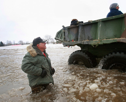 National Guard truck in flooded North Dakota