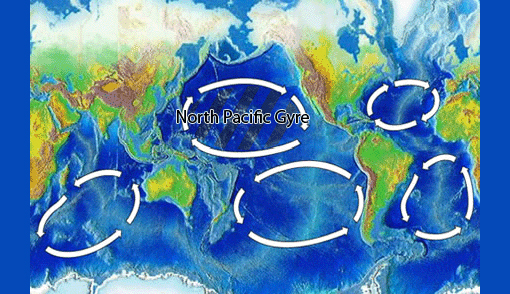 Located within the North Pacific Gyre (one of the five major oceanic gyres), the Great Pacific Garbage Patch, also described as the Eastern Garbage Patch or the Pacific Trash Vortex, is a gyre of marine litter in the central North Pacific Ocean located roughly between 135° to 155°W and 35° to 42°N and estimated to be twice the size of Texas. The patch is characterized by exceptionally high concentrations of suspended plastic and other debris that have been trapped by the currents of the North Pacific Gyre. Despite its size and density, the patch is not visible from satellite photography because it consists of very small pieces, almost invisible to the naked eye and most of its contents are suspended beneath the surface of the ocean.