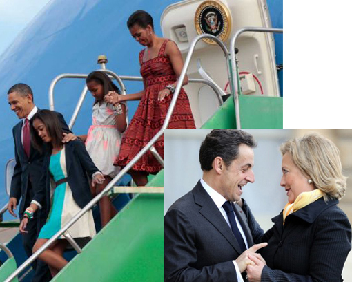 Obamas arrive in Brasilia. Inset: France's president Nicolas Sarkozy welcomes US Secretary of State Hillary.