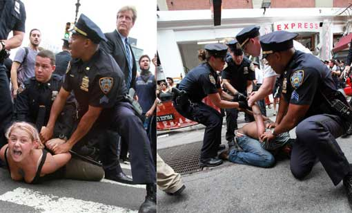 Left: woman arrested in Union Square; Right: police make mass arrests on East 12th Street and University Place.