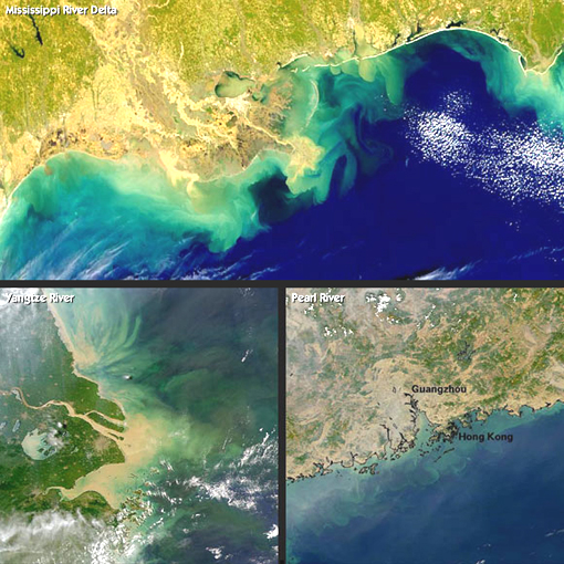 Expanding dead zones in the oceans: Mississippi Delta, Yangtze River, and Pearl River