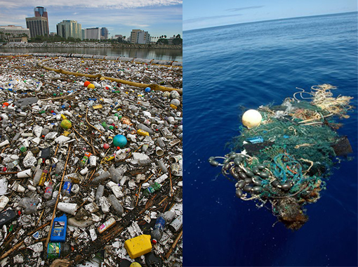 Left: Tons of garbage that swept down the Los Angeles River after a storm is corralled by a boom in Long Beach, Ca. Most plastic trash makes its way to the ocean and can be found washed up on beaches around the world. Right: Great Pacific Garbage Patch.