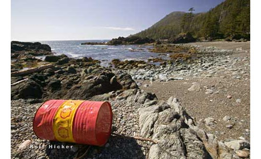 A stranded oil drum on the west coast of Vancouver Island. There are several causes of ocean pollution including oil pollution, marine debris, toxic materials, and ocean dumping and mining. Oil pollution is not only caused by large devasting tanker spills, it is also caused through runoff from land and industrial wastes which find their way to the ocean through drains. Marine Debris often comes in the form of our trash which has been washed into the ocean after heavy rain or floods. A particular danger to marine wildlife are nets which have fallen of boats or plastics which can be swollowed and caught in an animals digestive system. Toxic materials accumulate in the ocean in the form of mercury, dioxin, PCBs, PAHs, Radioactivity. Both dumping and exploitation of ocean resources cause ocean pollution also.