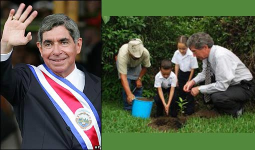 Costa Rican President Oscar Arias shoveled dirt onto the roots of an oak tree planted in the grounds of his offices, reaching the milestone in the Central American nation's efforts to ward off what some experts say are the first signs of climate change.
