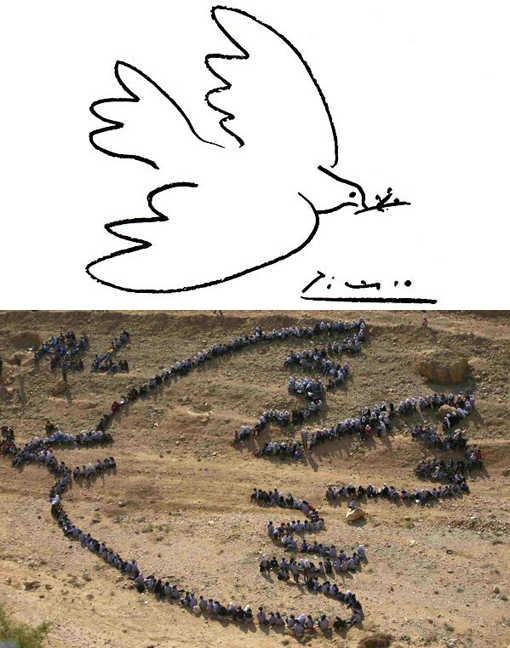 Top: Pablo Picasso's Peace Dove; Bottom: Palestinian students at UN schools stand to form image as dove of peace