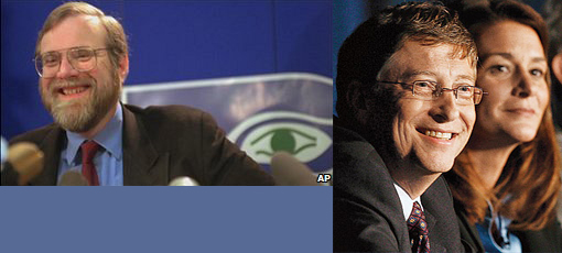 Left: Microsoft co-founder Paul Allen. Right: Bill and Melinda Gates.