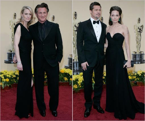 from left: Robin Wright Penn and Sean Penn; Brad Pitt and Angelina Jolie