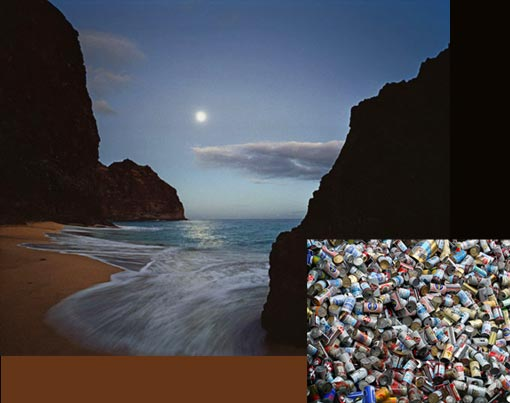 photo: Kalalau Beach; inset: National Geographic Human Footprint - Beer