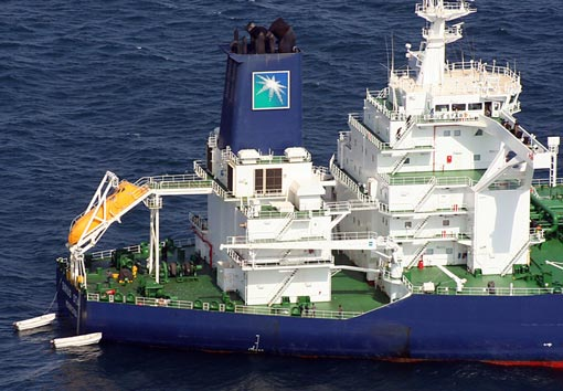 MV Sirius Star at anchor following an apparent payment via a parachuted container to pirates holding the Sirius Star